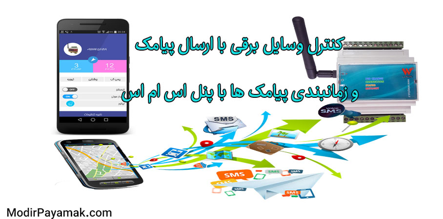 کنترل وسایل برقی با ارسال پیامک و زمانبندی پیامک